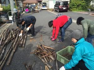 楽農くらぶ こちらは敷地の整備組。竹の活用を実践中