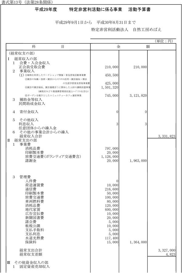 平成29年度活動予算書-1
